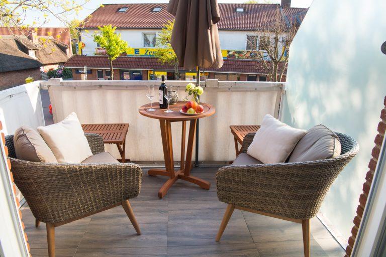 Ihr Balkon in Süd West Ausrichtung | Ferienwohnung Nordsee